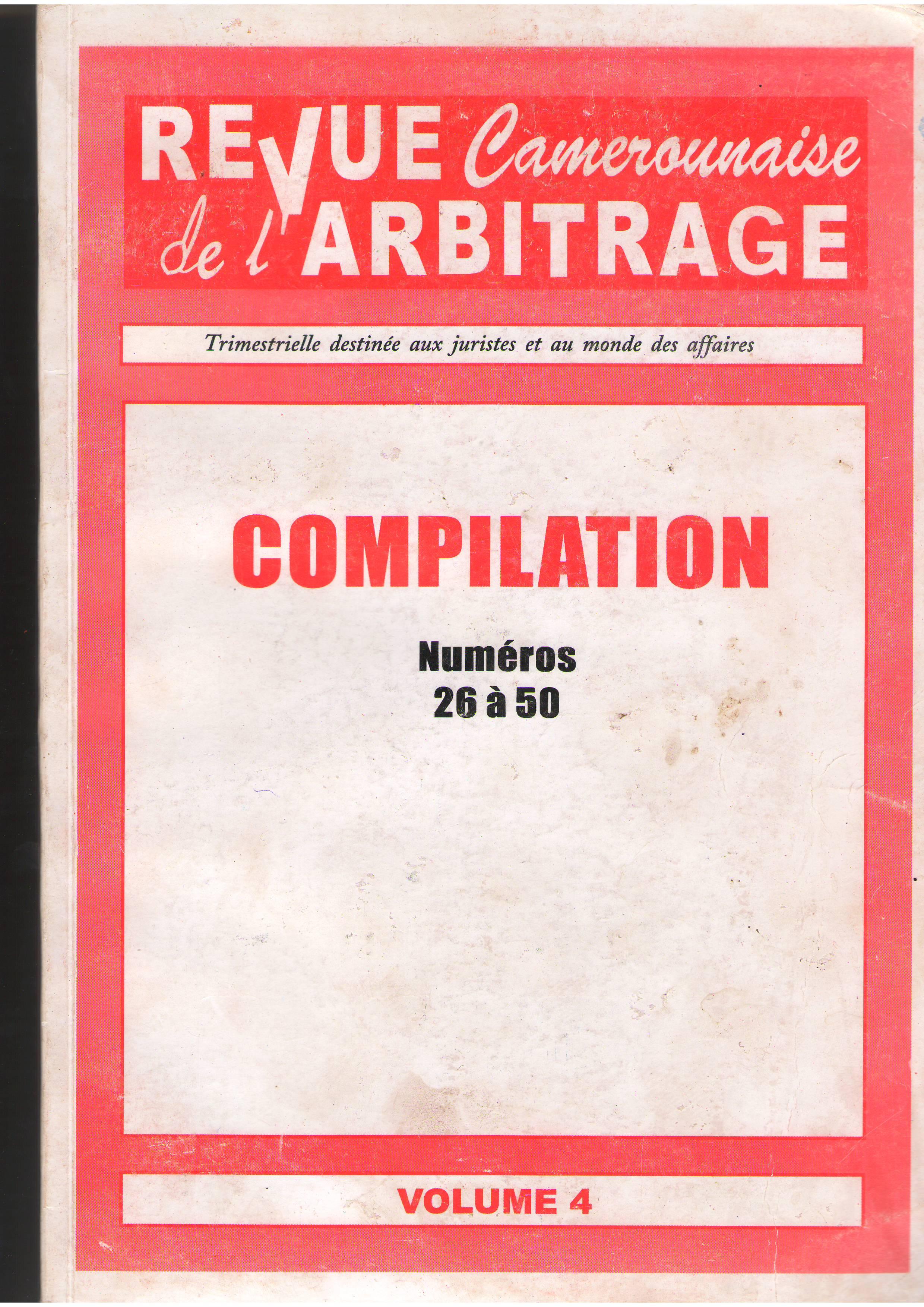 Revue camerounaise de l arbitrage un site utilisant for Chambre de commerce internationale arbitrage